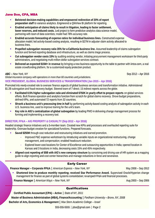 Chief Financial Officer Resume Example Page 2