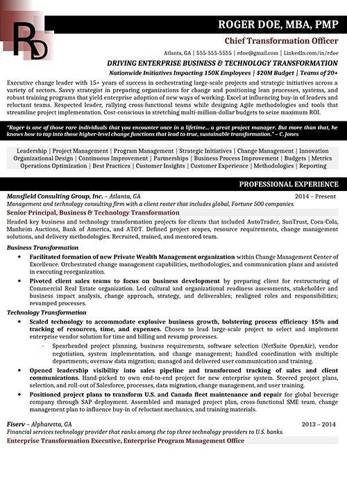 Chief Transformation Officer Resume Sample 1