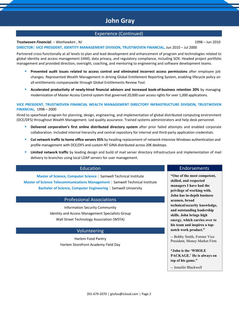 Executive Director Software Development Resume Sample 2