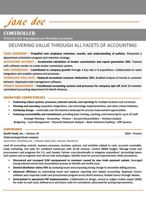 Financial Controller Resume Sample 1