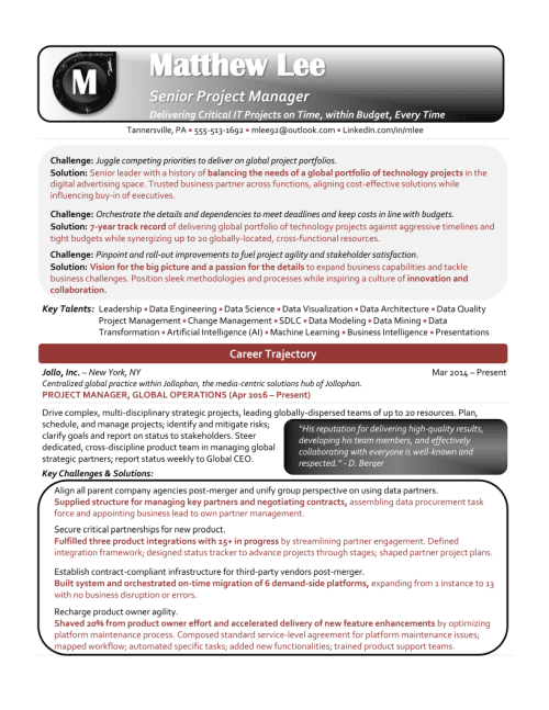 IT Project Manager Resume Sample 1