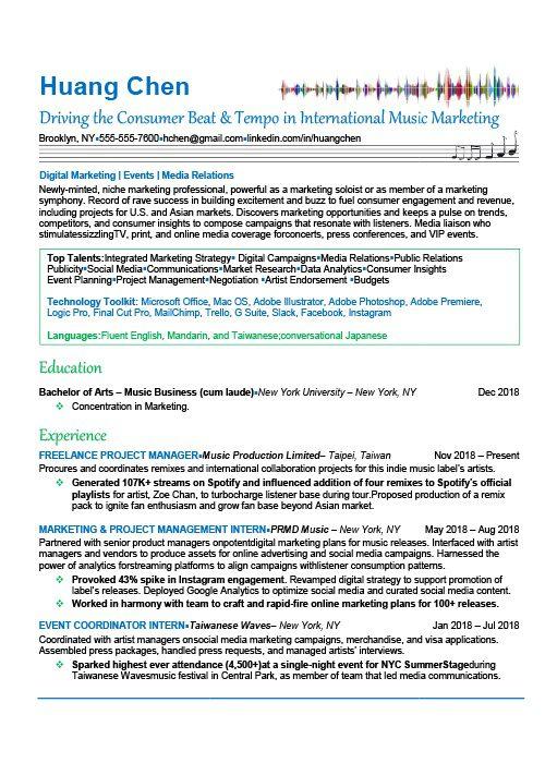 Music Industry Resume Sample