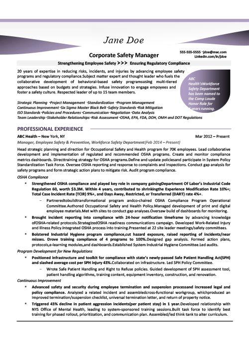 Safety Manager Resume Sample 1