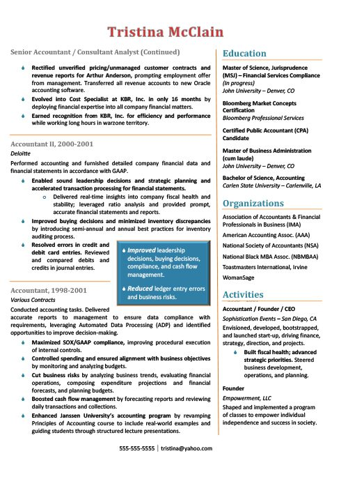 Senior Accountant Resume Sample 2