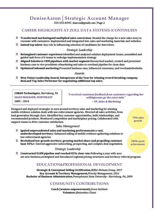 Strategic Account Manager Resume Sample 2