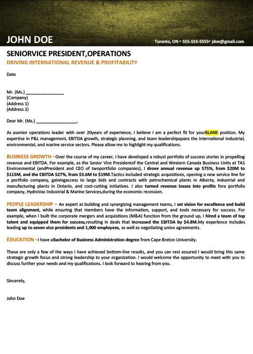 Vice President Cover Letter Sample